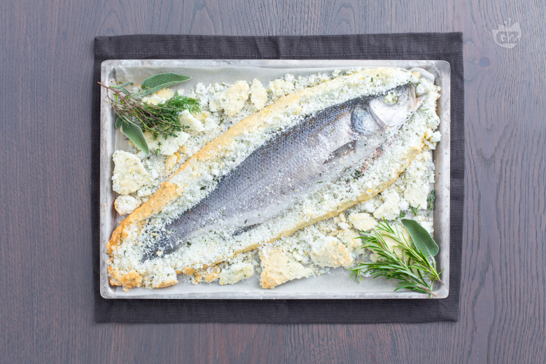 Sea bass in a herb salt crust