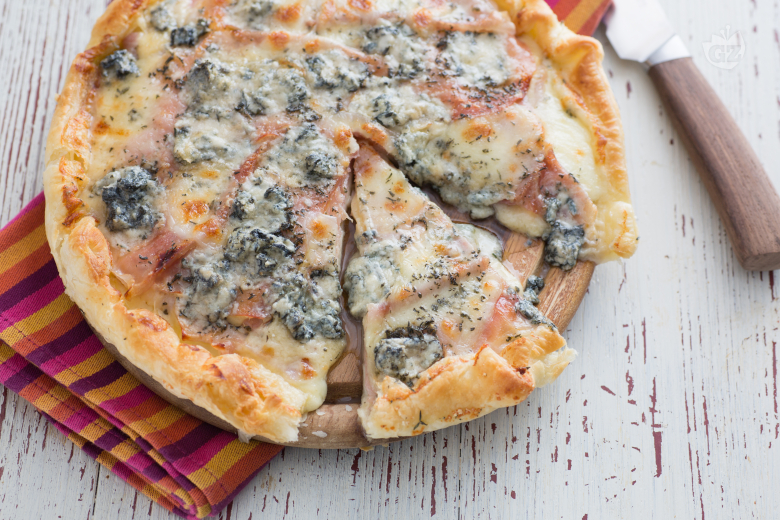 Rustic four-cheese pie