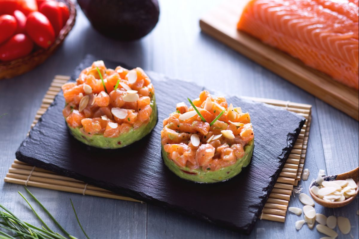 salmon tartare with avocado and toasted almonds
